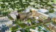 HOK design concept rendering: This bird's-eye view shows the green space that will link the new University at Buffalo School of Medicine and Biomedical Sciences with the Roswell campus.